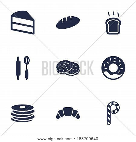 Set Of 9 Food Icons Set.Collection Of Whisk, Pastry, Striped Lollipop And Other Elements.