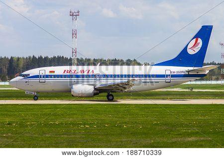Minsk Minsk National Airport Belarus - May 06 2016: Boeing 737-500 EW-252PA Belavia Airlines