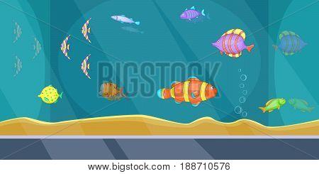 Aquarium banner horizontal concept man. Cartoon illustration of aquarium banner man horizontal vector concept for web