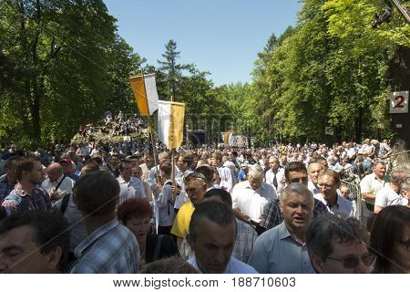 Piekary Sl Poland May 28 2017: Pilgrimage of men and young men to the Shrine of Mary Mother of Love and Social Justice