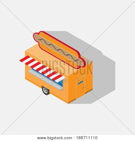 Vector  icon  Trailer for hot dogs. 3d element.