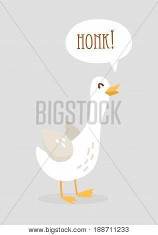 Cute cartoon goose says Honk. Flat design. Vector.