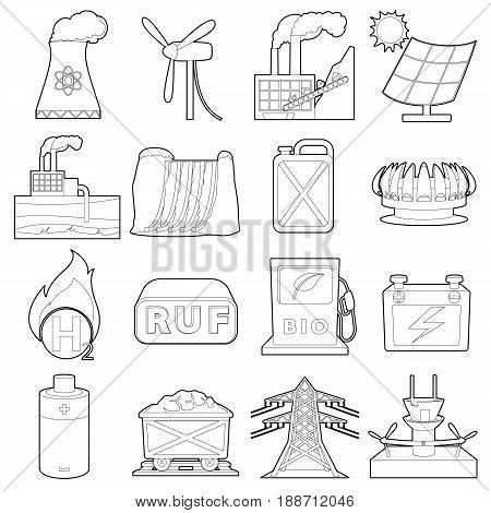 Energy sources icons set. Outline illustration of 16 energy sources vector icons for web