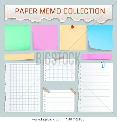 Paper memo mockup set. Realistic illustration of 10 paper memo mockups for web