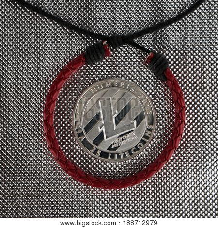 Silver Litcoin And Red Bracelet