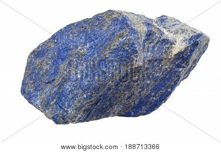 Lapis lazuli raw gemstone isolated on white background