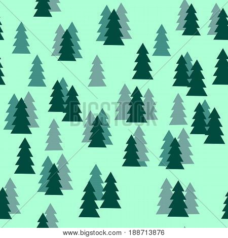 Pine Tree Forest Silhouette Seamless Pattern Isolated on Green Background. Vector Illustration.