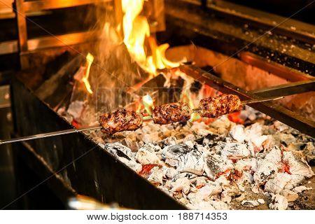 Lula Kebab Roasted On Skewers On The Grill.