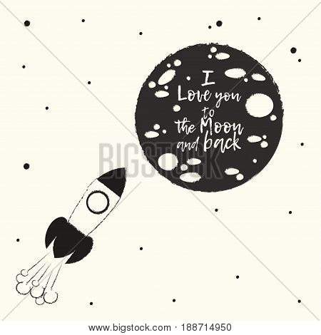 Poster and postcard template The rocket flies to the moon in which the phrase is handwritten I love you to the moon and back