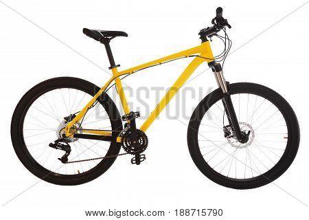 Yellow  Mountain Bike Isolated On White Background