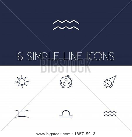 Set Of 6 Horoscope Outline Icons Set.Collection Of Asteroid, Moon, Libra And Other Elements.