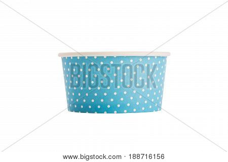 Empty paper cup for ice cream ot desserts isolated on white background