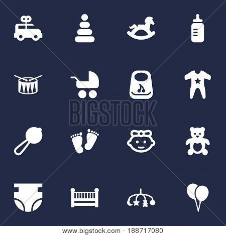 Set Of 16 Baby Icons Set.Collection Of Bus, Pram, Equine And Other Elements.