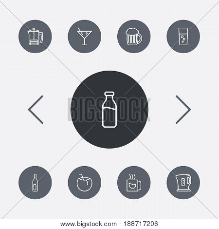 Set Of 9 Drinks Outline Icons Set.Collection Of Green, Cocos, Kettle And Other Elements.