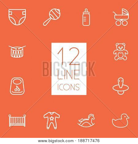 Set Of 12 Baby Outline Icons Set.Collection Of Rocking Horse, Diaper, Crib And Other Elements.