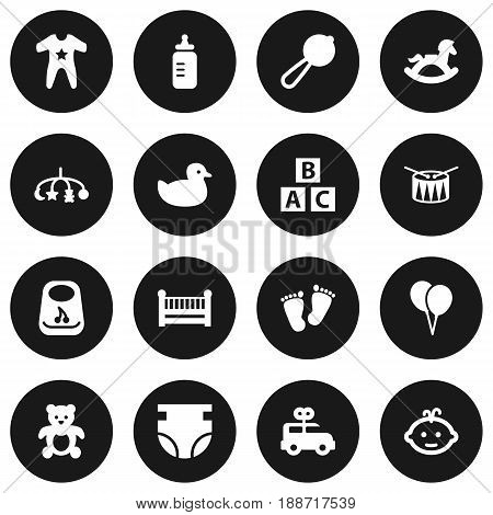 Set Of 16 Baby Icons Set.Collection Of Barrel, Milk, Bus And Other Elements.