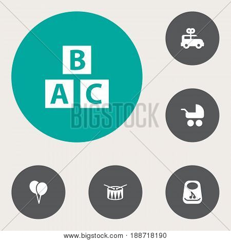 Set Of 6 Baby Icons Set.Collection Of Abc Block, Pram, Bus And Other Elements.