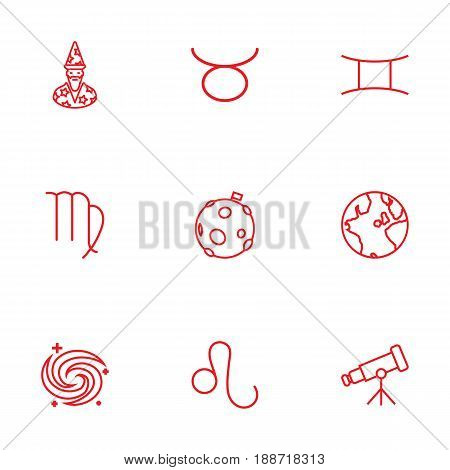Set Of 9 Galaxy Outline Icons Set.Collection Of Gemini, Moon, Astrologer And Other Elements.