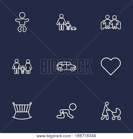 Set Of 9 Family Outline Icons Set.Collection Of Crawling Kid, Couple, Baby And Other Elements.