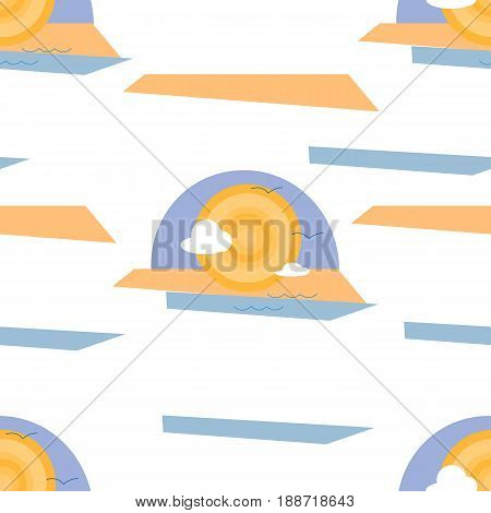 Sea Sun Sand and Clouds Abstract Illustration Seamless Pattern Isolated on White Background. EPS10
