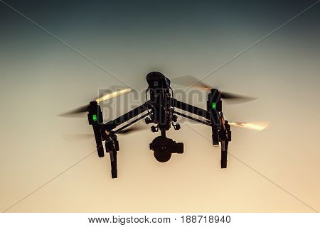 Varna Bulgaria - July 092016: Image of DJI Inspire 1 Pro drone UAV quadcopter which shoots 4k video and 16mp still images and is controlled by wireless remote with a range of 2km