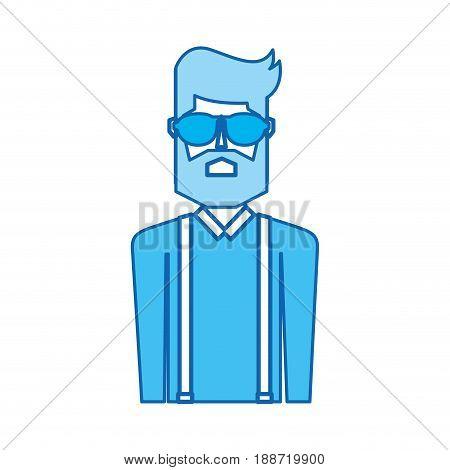 blue icon vintage upper body man cartoon graphic design