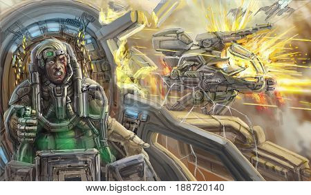 The wounded pilot in the broken cabin of the combat vehicle. Science fiction . Original sci-fi character concept.