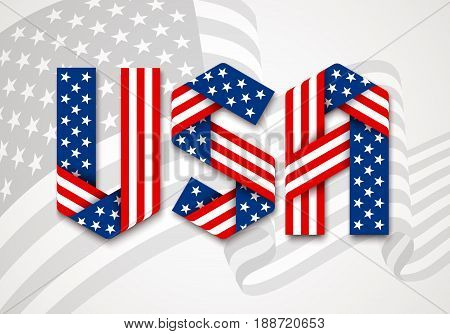 USA. United States of America Graphic Logo. Letters made of interlaced ribbons with American flag's stars and stripes. Vector illustration.