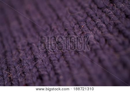 Texture Of Dark Blue Knitted Woolen Fabric