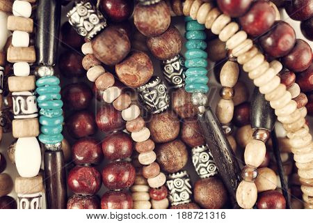 Group Of Ethnic Wooden Bracelets And Necklaces