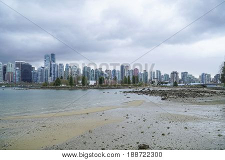 Wide angle shot over the skyline of Vancouver - amazing view from Stanley Park -  CANADA