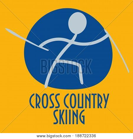 Winter sports stick figure icon: Cross-country skiing. Great as Cross-country skiing icon or symbol for materials.