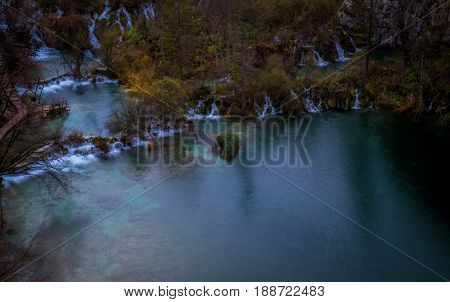Aerial view of the waterfalls in plitivice lake