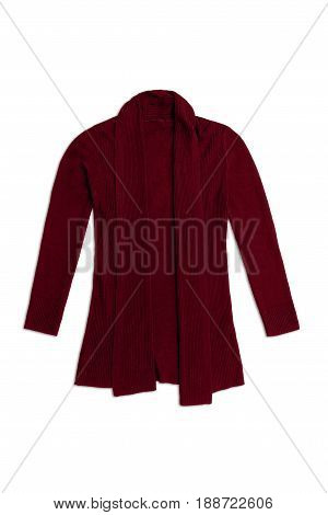 Bordeaux Red Wool Knit Cardigan, Isolated On White Background