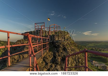 Ruin of castle Tolstejn in Luzicke hory mountains in sunny spring morning
