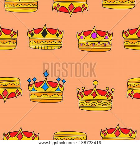Doodle elegant crown collection stock vector illustration