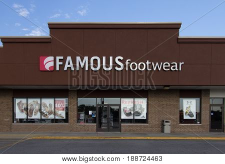 Fort Gratiot, Michigan, USA - May 17, 2017: Logo and entrance to Famous Footwear. Established in 1960, Famous Footwear is a retail shoe store chain based in the United States.