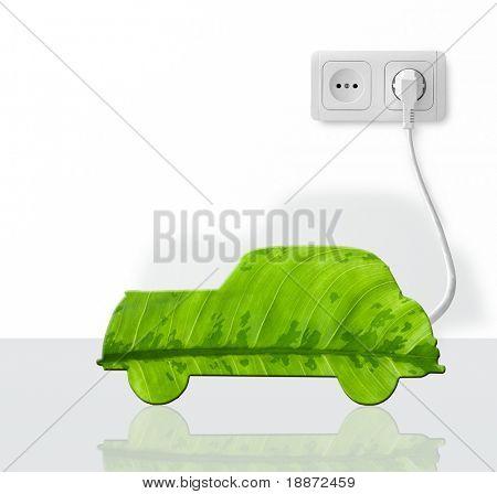 Green car cut from leaf.