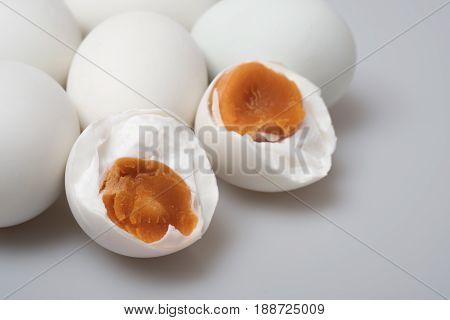 Isolated Group Of Salted Duck Egg; Close Up