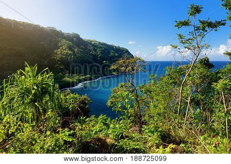 Beautiful Views Of Maui North Coast Seen From Famous Winding Road To Hana