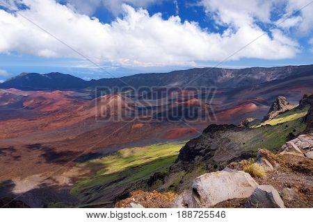 Stunning Landscape Of Haleakala Volcano Crater Taken At Kalahaku Overlook At Haleakala Summit, Maui,