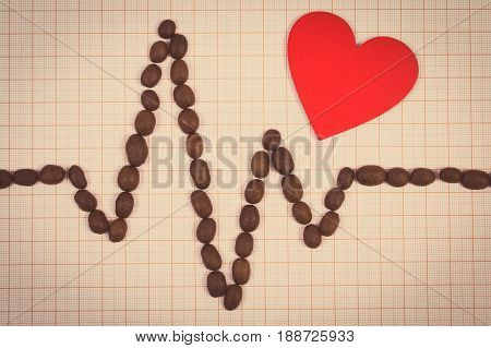 Cardiogram Line Of Roasted Coffee Grains And Red Heart, Concept Of Medicine And Healthcare