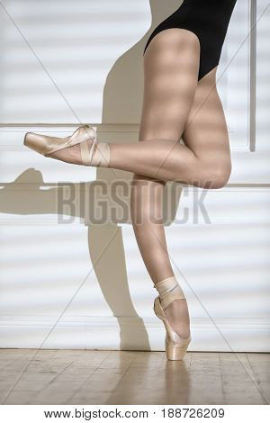 Legs of the ballerina in a black leotard and pointe shoes on the white wall background. Right leg is on the toe, left leg is bent in a knee. There are shadows on the wall. Indoors. Closeup. Vertical.