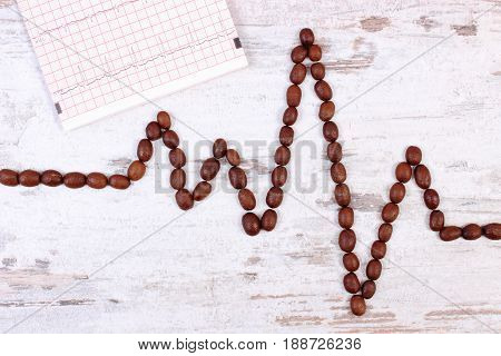 Cardiogram Line Of Roasted Coffee Grains And Printout, Concept Of Medicine And Healthcare