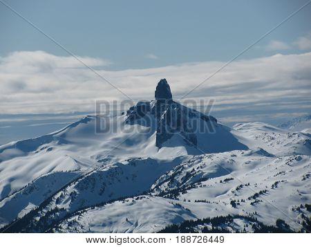 Unique winter mountain photo outside Whistler ski area in Canada