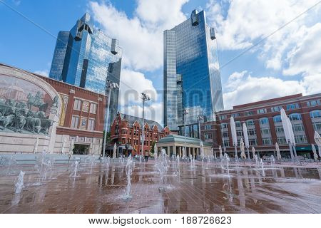 FORT WORTH, TX - May 12, 2017: Water fountains in Sundance Square in Fort Worth, Texas.