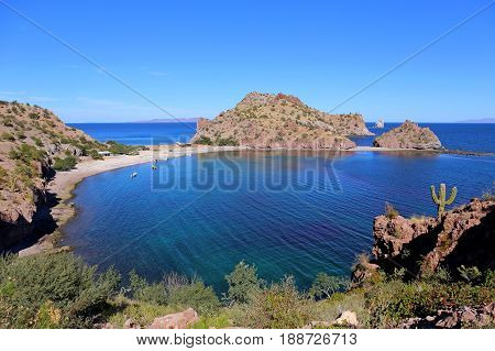 Agua Verde a cove with cristal clear water in Baja California, Mexico