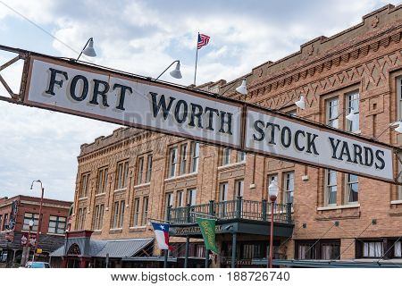 FORT WORTH, TX - MAY 11, 2017: Entrance sign to the cattle stockyards of Fort Worth, Texas.