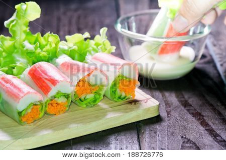 Salad roll with seafood for diet food