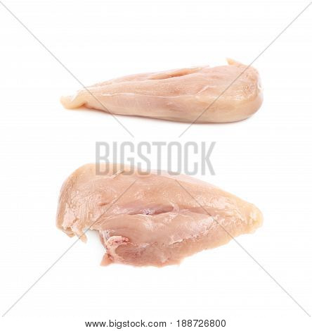 Raw chicken breast piece of meat isolated over the white background, set of two different foreshortenings